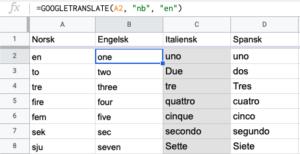 Oversett tekst med Google Sheets